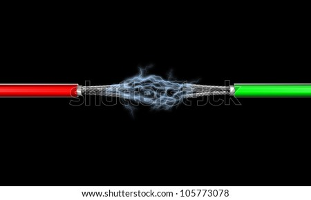 Illustration of two electric wires against a dark background - stock photo