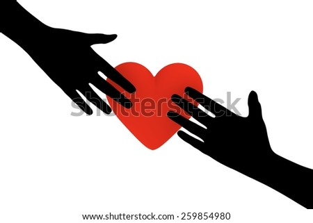 Illustration of two hands reaching out towards a heart - stock photo
