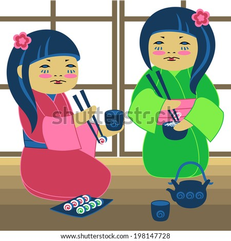 Illustration of two japanese girl with sushi - stock photo