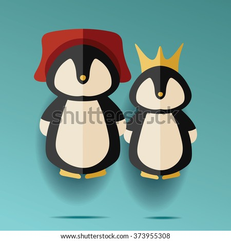 illustration of two male and female penguins in hat and crown - stock photo