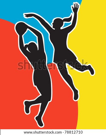 illustration of two netball players silhouette jumping shooting blocking the ball