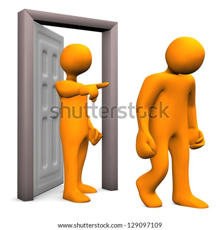 Illustration of two orange cartoon characters and a frontdoor.