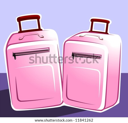 Illustration of two trolley bags - stock photo