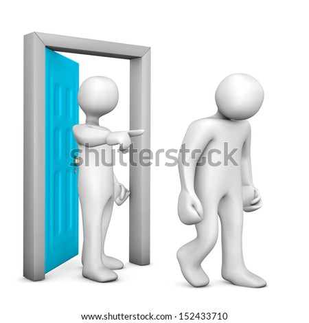 Illustration of two white cartoon characters and a frontdoor. - stock photo