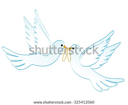Illustration of two white pigeons / doves carrying two golden rings isolated on white background - stock photo