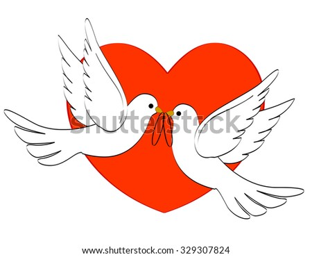 Illustration of two white pigeons / doves carrying two wedding rings on red heart backgound  - stock photo
