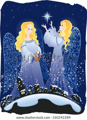 Illustration of two winter angels. - stock photo