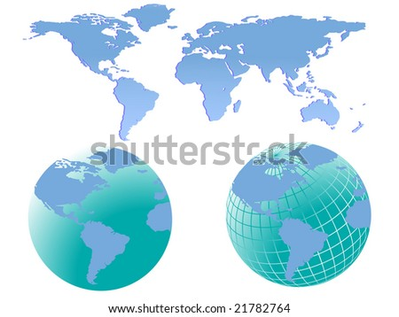 Illustration of two world globes with america facing forward together with a map of the world which can be separated into different continents easily.