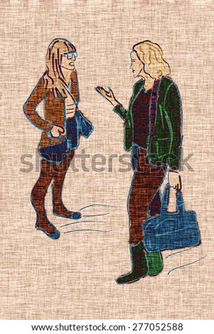 Illustration of two young modern fashionable women talking and shopping. Two trendy girlfriends gossiping. Fashion illustration. Canvas, fabric. - stock photo