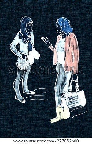 Illustration of two young modern fashionable women talking and shopping. Two trendy girlfriends gossiping. Fashion illustration. Blue canvas. - stock photo