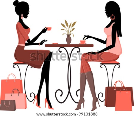 Illustration of two young women having coffee after a day of shopping. - stock photo