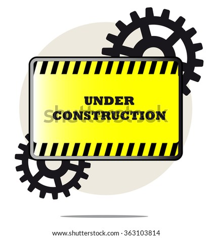 Illustration of under construction sign with gears and white background - stock photo
