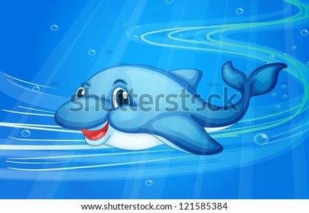 illustration of under water fish - stock photo