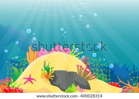illustration of underwater landscape - stock photo