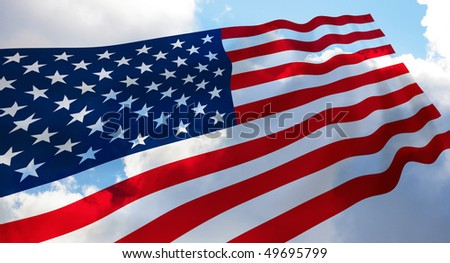 Illustration of USA flag waving in the wind over the cloudy sky