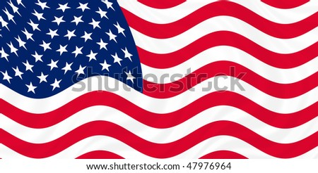 Illustration of USA flag waving in the wind (see more other flags in my collection)