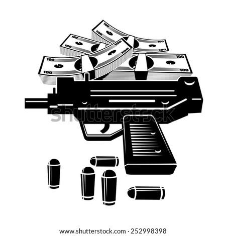 Illustration of uzi gun and lot of money. Isolated on white background. - stock photo