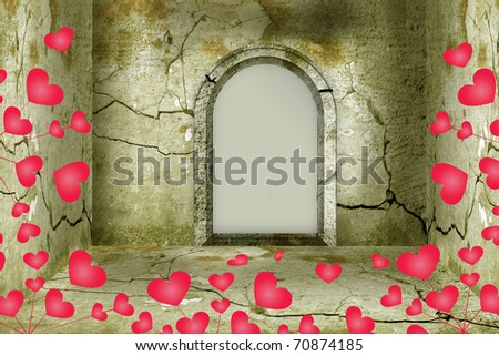 Illustration of Valentine's Day: a room in romantic style with hearts and an arched opening in the wall with an empty place