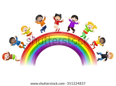 illustration of  various children happy being on top of rainbow bridge isolated on white background
