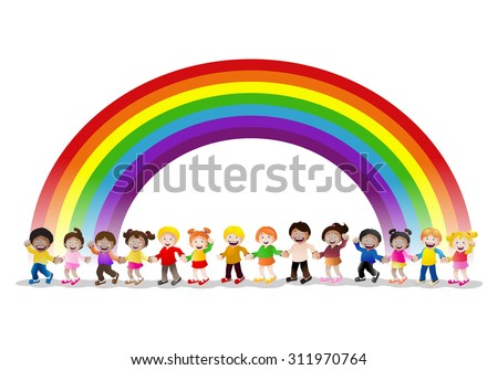 illustration of  various children holding hands under rainbow isolated on white background - stock photo