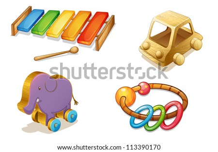 illustration of various objects on a white background - stock photo