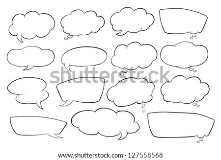 illustration of various shapes of speech bubbles on a white background - stock photo