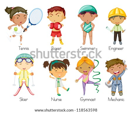 illustration of various sports kids on a white background - stock photo