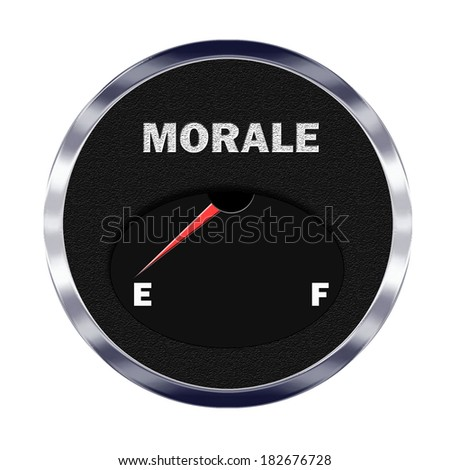 Illustration of vehicle type instrument gauge showing morale level at empty