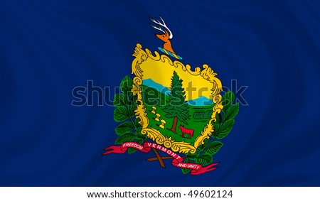 Illustration of Vermont state flag waving in the wind (see more other flags in my collection) - stock photo