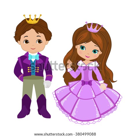 Illustration of very cute Prince and Princess. Raster copy. - stock photo