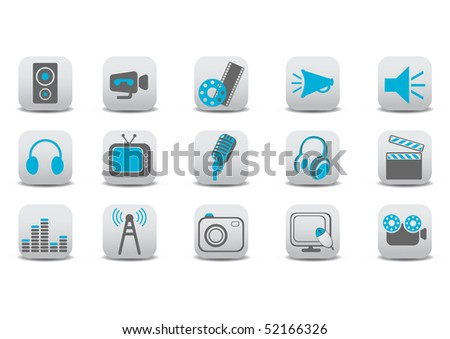 illustration of video and audio icons.You can use it for your website, application or presentation. - stock photo