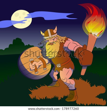 Illustration of viking with a torch