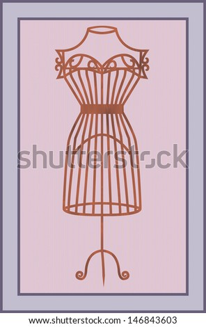 Illustration of vintage card with wooden mannequin