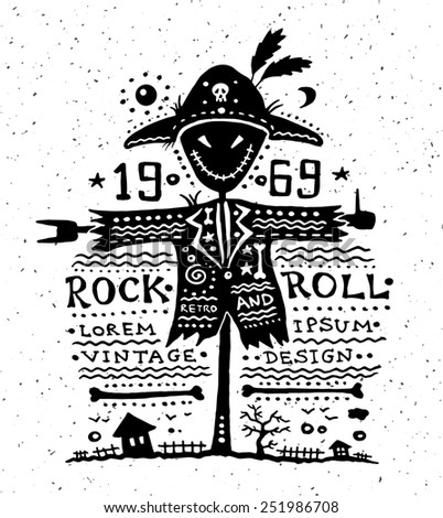 Illustration of vintage grunge label with scarecrow - stock photo