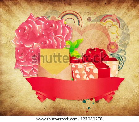 Illustration of vintage Valentines day card with roses and heart shaped gift box. - stock photo