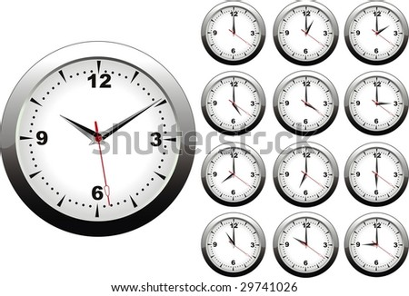 illustration of wall clock with twelve hours hours