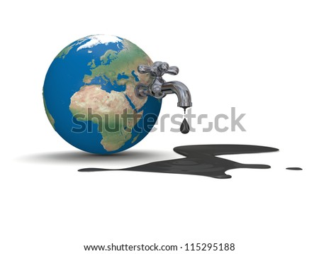 Illustration of water tap mounted on realistic planet Earth dripping with oil isolated on white background. Elements of this image furnished by NASA - stock photo