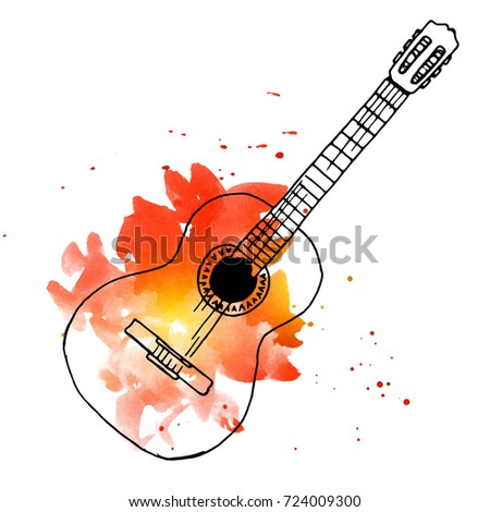 Illustration Of Watercolor Spanish Flamenco Guitar Ready To Print Big Background Texture With Hand Drawn