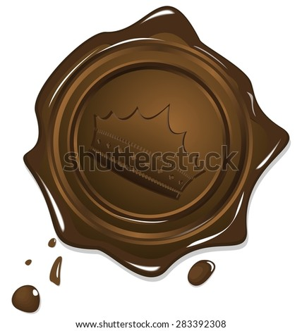 Illustration of wax grunge golden seal with image crown isolated on white background - raster - stock photo