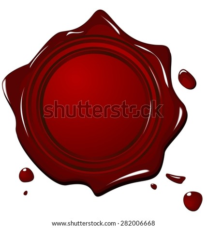 Illustration of wax grunge red seal isolated on white background - raster - stock photo