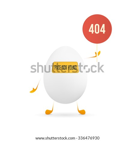 Illustration of 404 web page not found error with cute and funny egg creature holding the red sign. - stock photo
