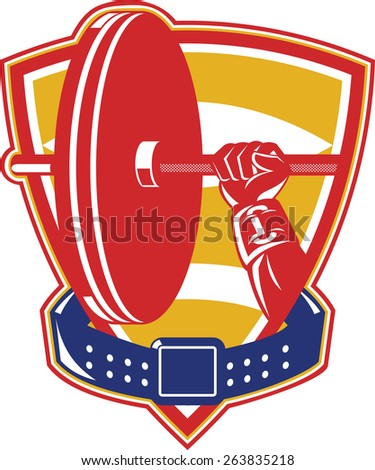 Illustration of weightlifting weightlifter hand lifting weights set inside shield with belt around on isolated background done in retro style. - stock photo