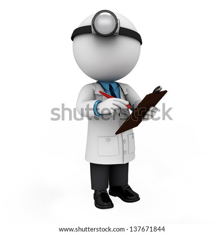 illustration of white character as doctor