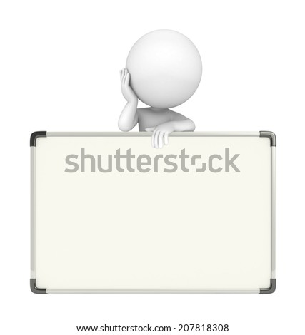 Illustration of white character with display board