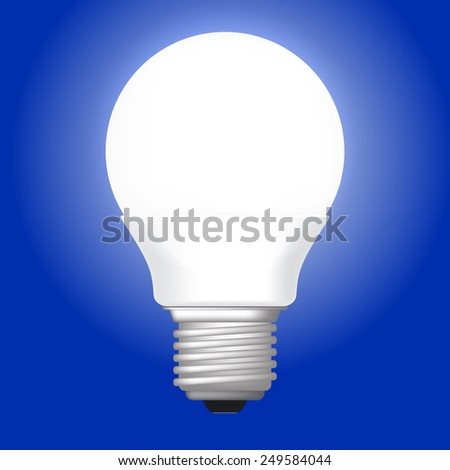 illustration of white LED glowing lamp. on blue background