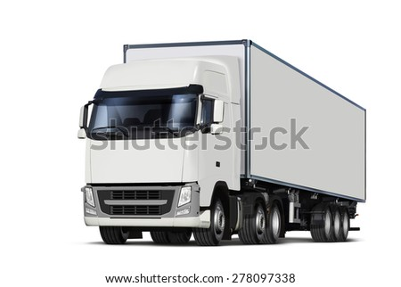 illustration of white lorry, isolated with path - stock photo
