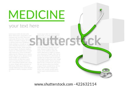 Illustration of white medical cross and stethoscope isolated on white background with sample text - stock photo
