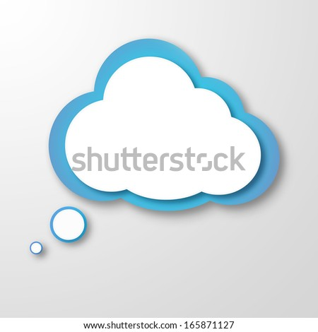 "Illustration of white paper cloud or ""idea cloud"" on grey background"