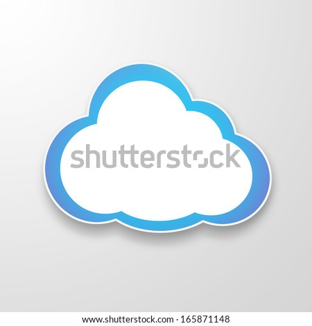 Illustration of white paper cloud over grey background