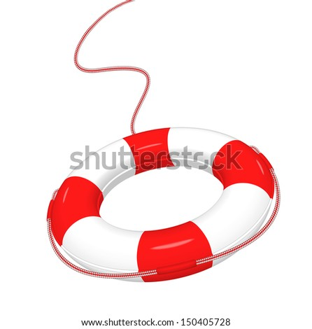 Illustration of white red Lifebuoy isolated on white.  Concept of help, save, emergency.